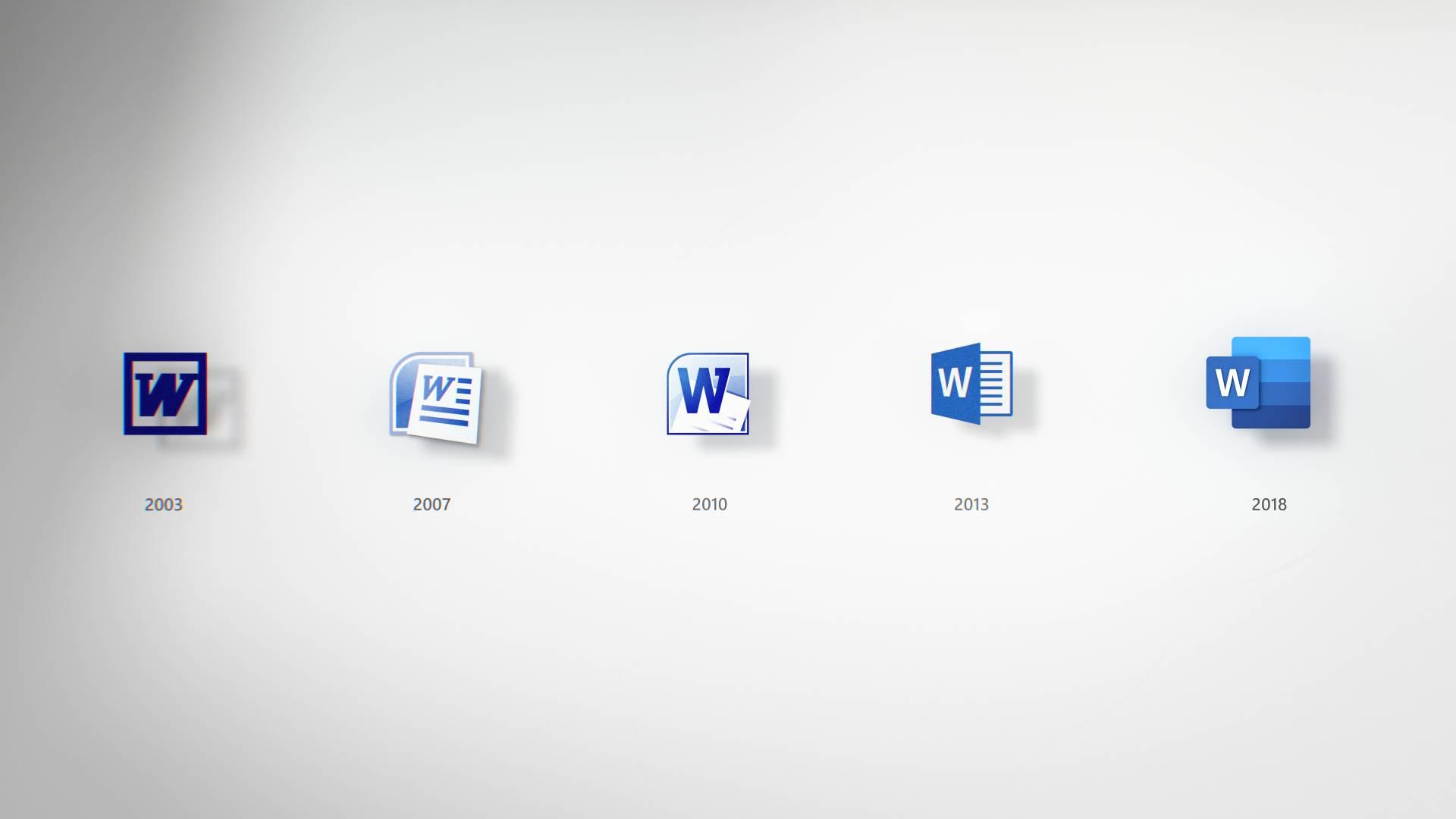 Evolución de los iconos de Office desde 2003 hasta 2018