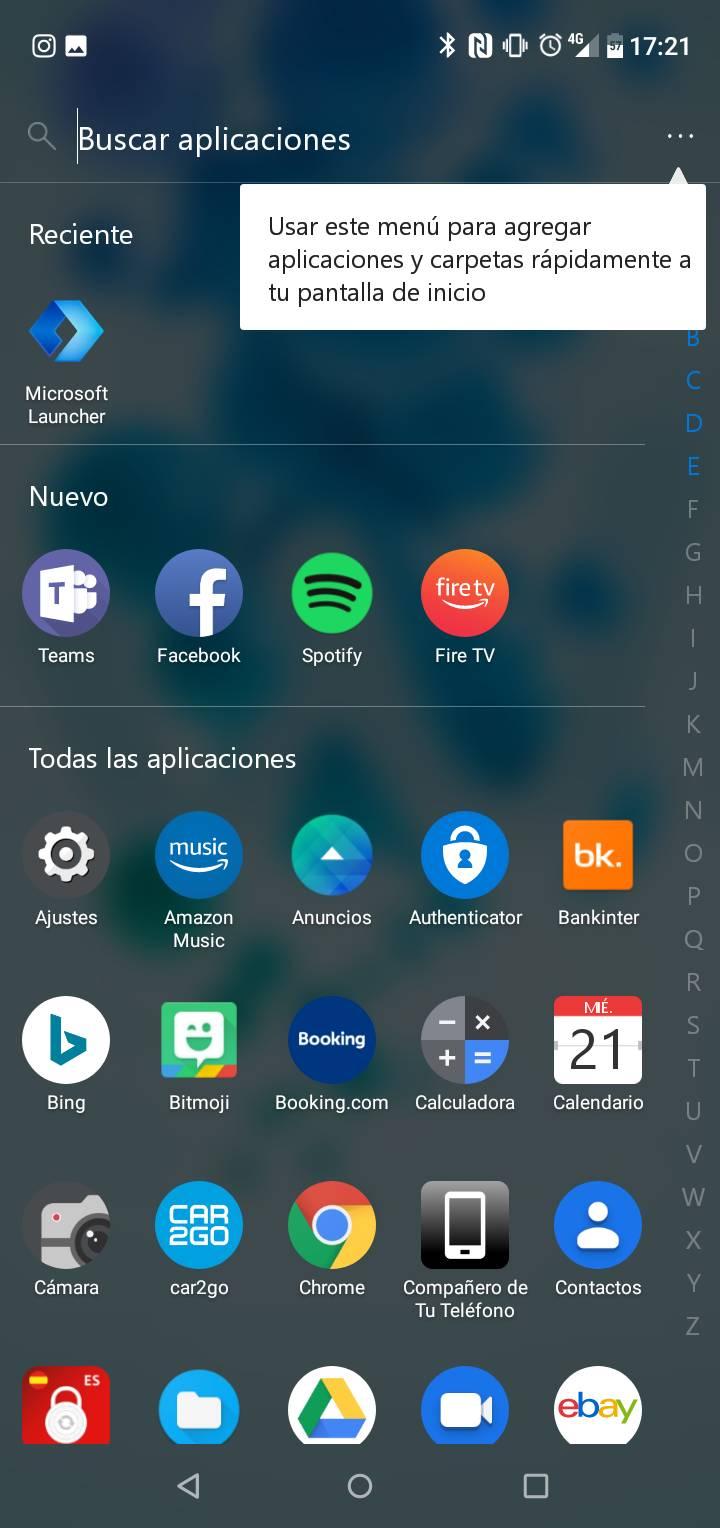 Pantalla de inicio de Microsoft Launcher 5.1