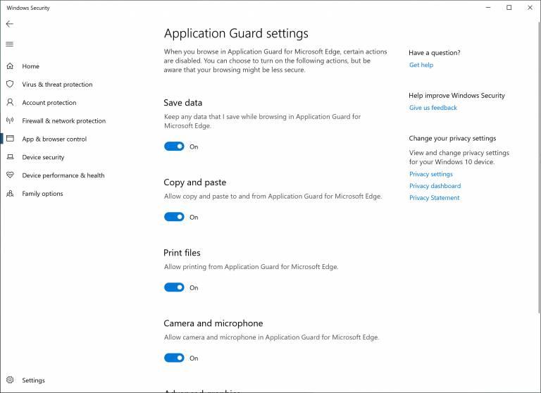 Windows 10 Application Guard en la Build 18277