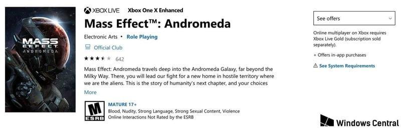 Mass Effect: Andromeda en la Microsoft Store, con mejorado para Xbox One X