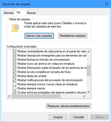 Opciones de carpeta en el Explorador de archivos de Windows 10 19H1