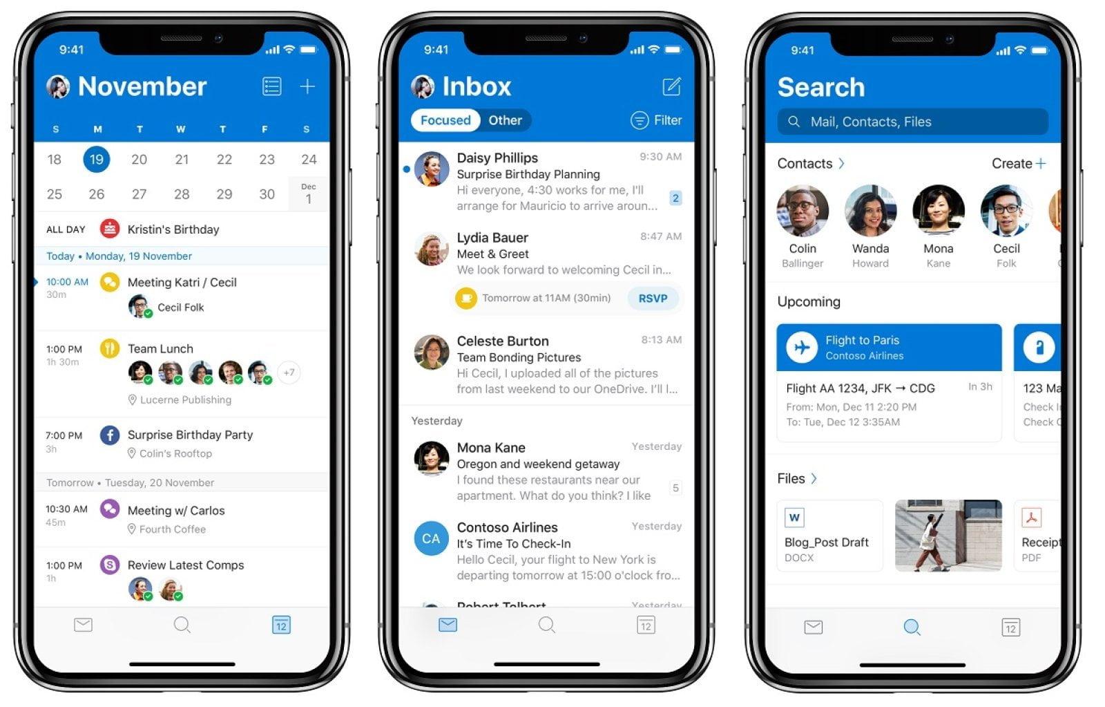 Nueva interfaz de Outlook en iOS