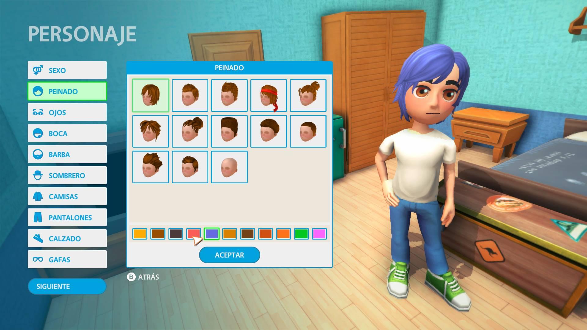 Eligiendo peinado entre las opciones disponibles de Youtubers Life OMG Edition