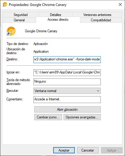 Así puedes activar el modo oscuro Google Chrome Canary