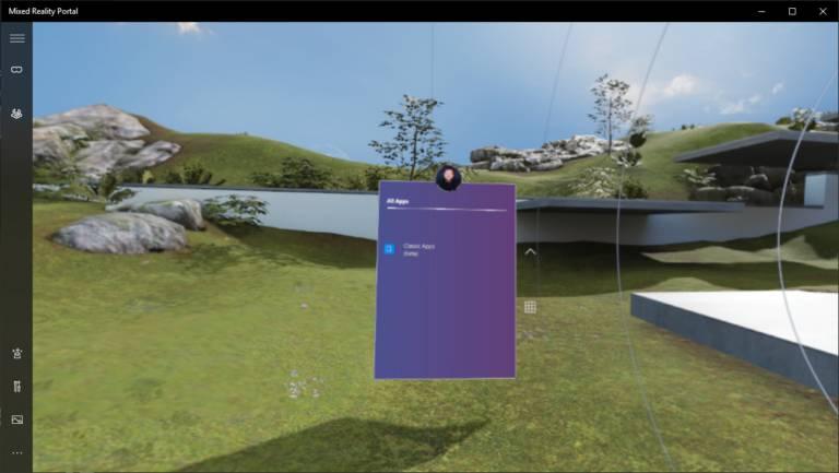 Opción de inciiar aplicaciones Win32 en la Realidad Mixta de Windows en la Build 18329