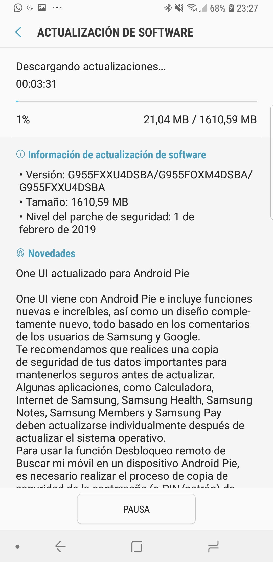 Android 9 Pie en Samsung Galaxy S8+