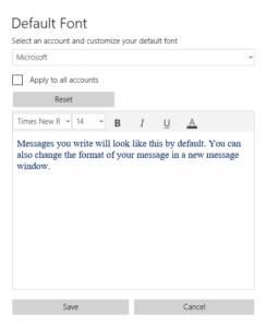 Modificación de la fuente por defecto que podemos obtener en la última actualización de la aplicación de correo y calendario