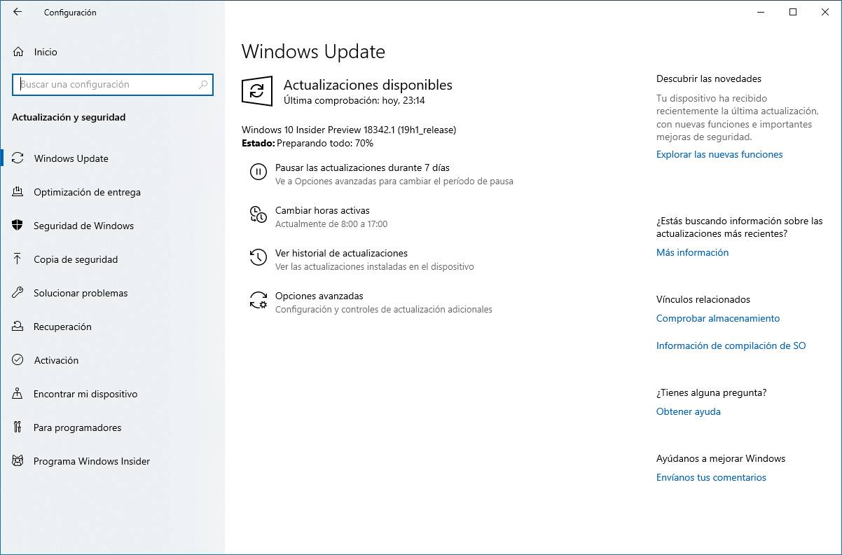 Build 18342 en Windows Update