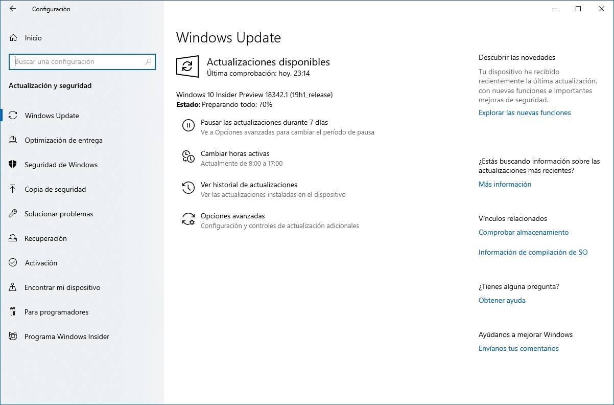 Build 18342 en Windows Update