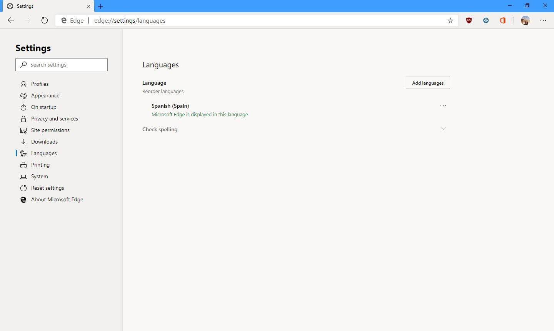 Idiomas de Microsoft Edge con Chromium