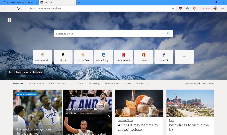 Noticias e imane de Microsoft Edge con Chromium