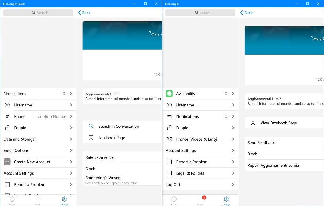 Novedades en la configuración de Messenger (Beta) vs Messenger oficial
