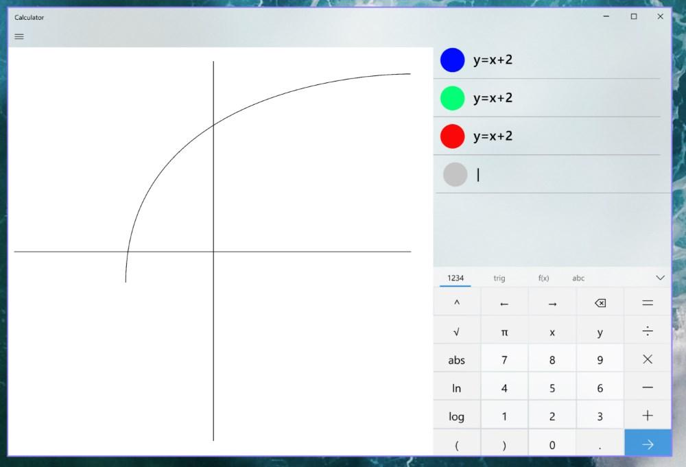 Modo gráfico Calculadora Windows