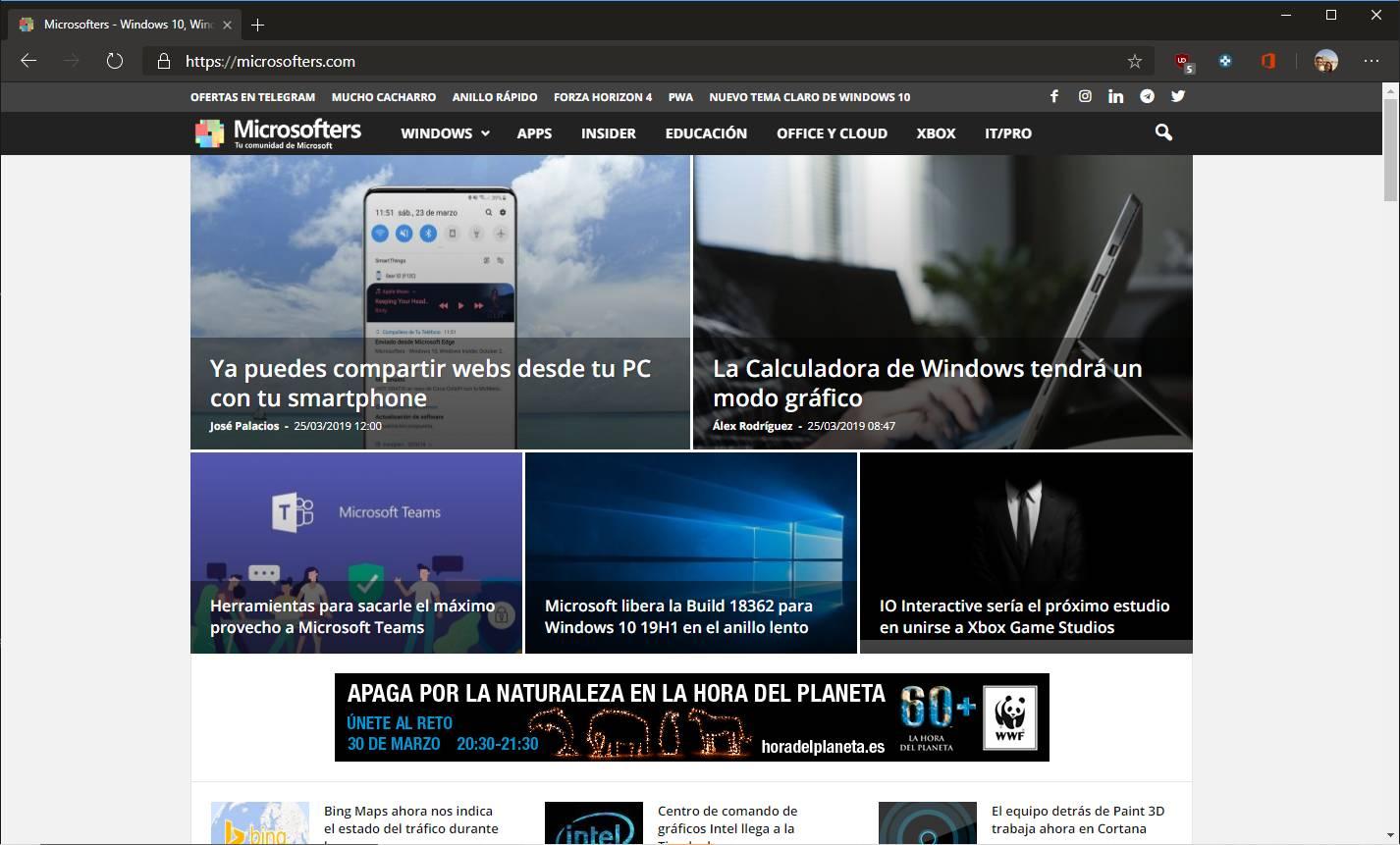 Tema negro de Microsoft Edge con Chromium