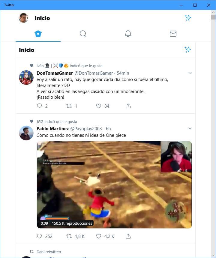 Aplicación antigua de Twitter PWA en pantalla partida