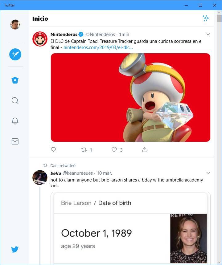 Aplicación nueva de Twitter PWA en pantalla partida