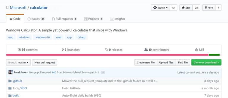 Código de la calculadora de Microsoft en GitHub