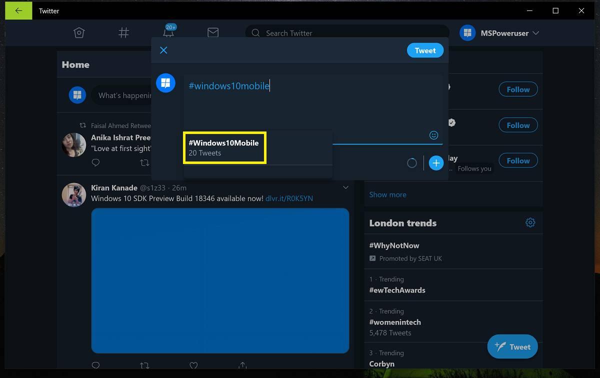 Contador de Tweets que utilizan un Hashtag en Twitter PWA para Windows 10