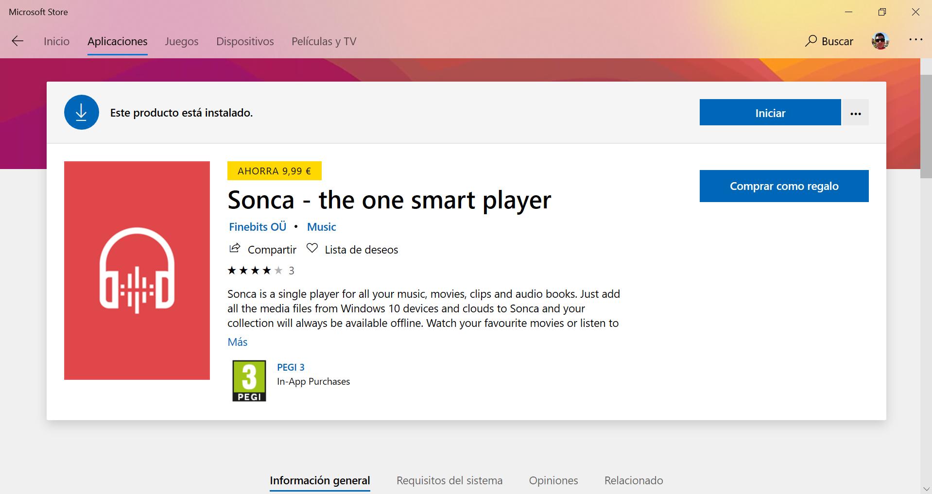 Ficha de la app en la Microsoft Store