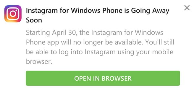 Instagram de Windows 10 Mobile dejará de estar disponible