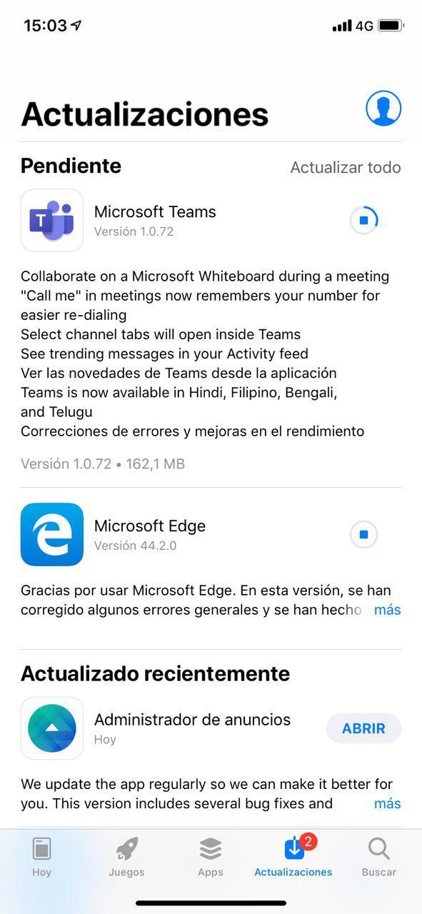 Actualización de Microsoft Teams en iOS