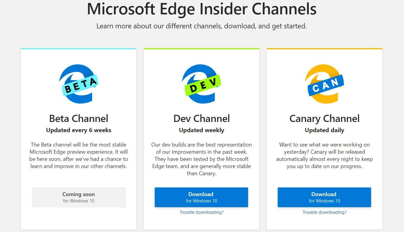 Versiones Microsoft Edge