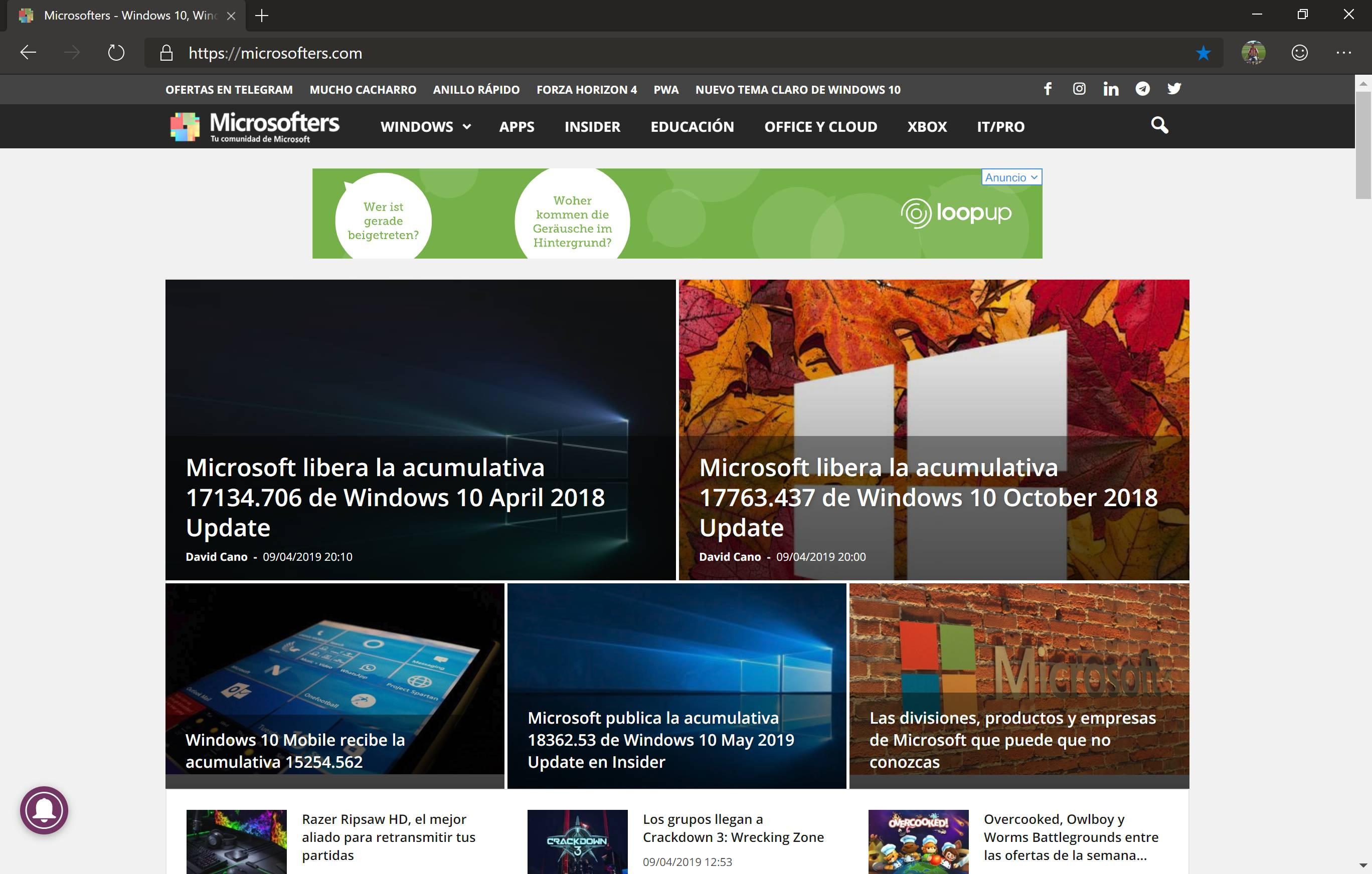 Modo oscuro en el nuevo Microsoft Edge