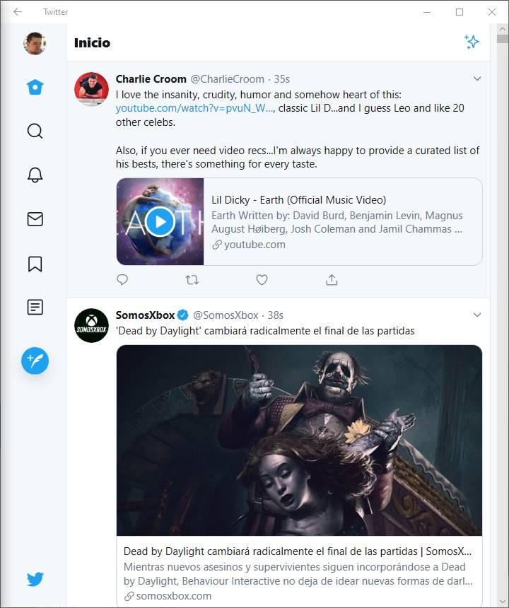 PWA de Twitter a pantalla partida