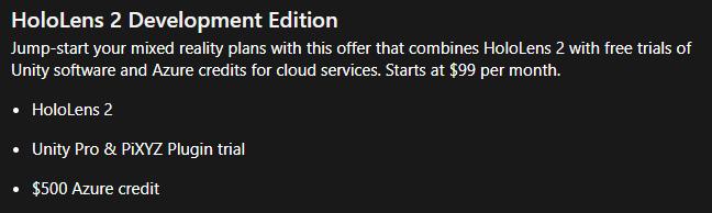 Pagina de Microsoft sobre las Hololens 2 Development Edition