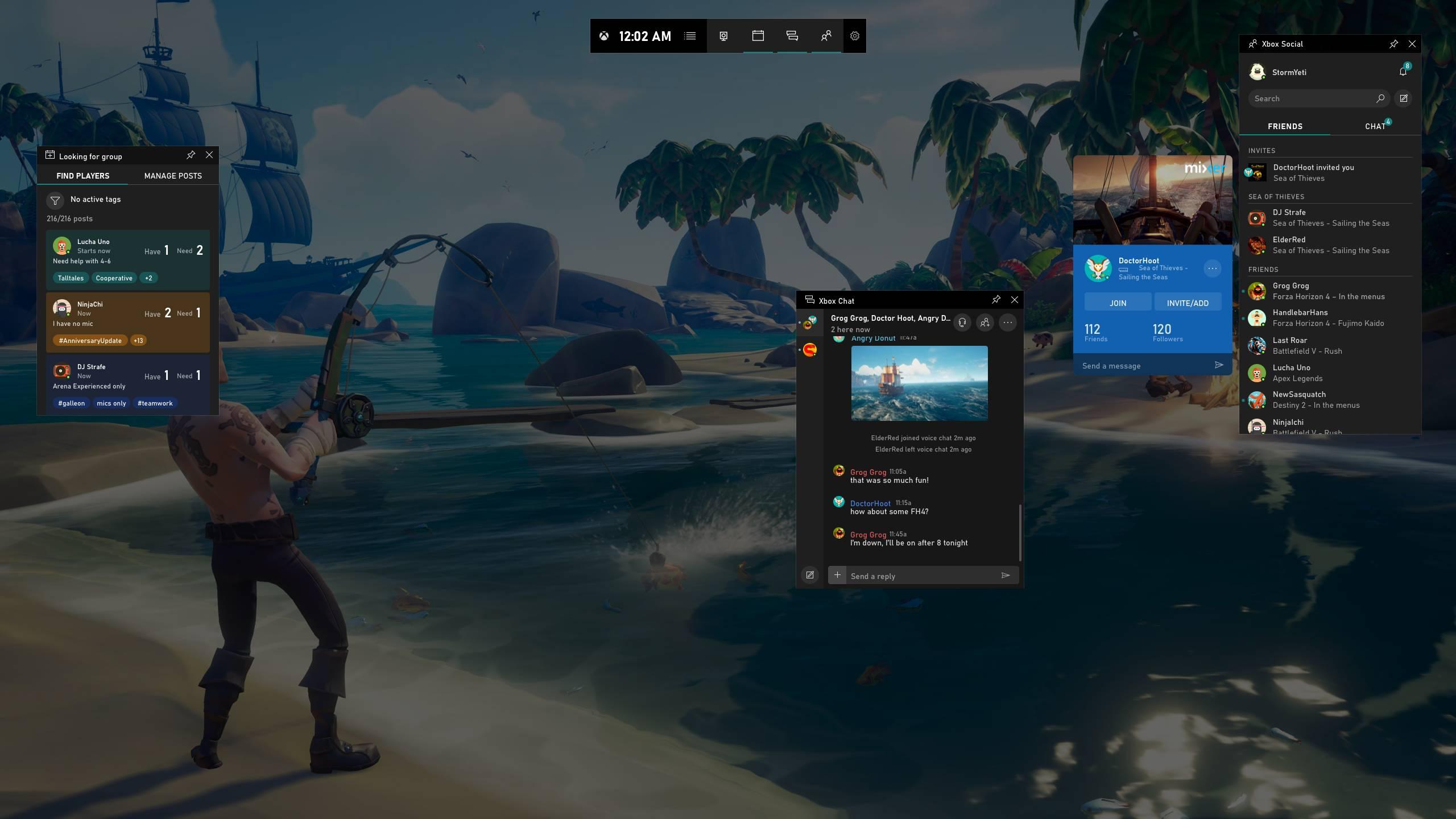 Buscar grupo y chat en la Barra de Juego de Xbox en Windows 10 PC