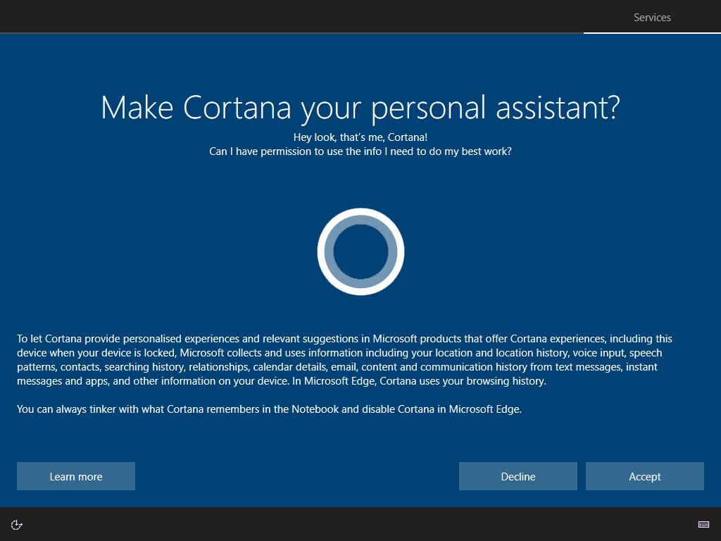 Cortana en el OOBE
