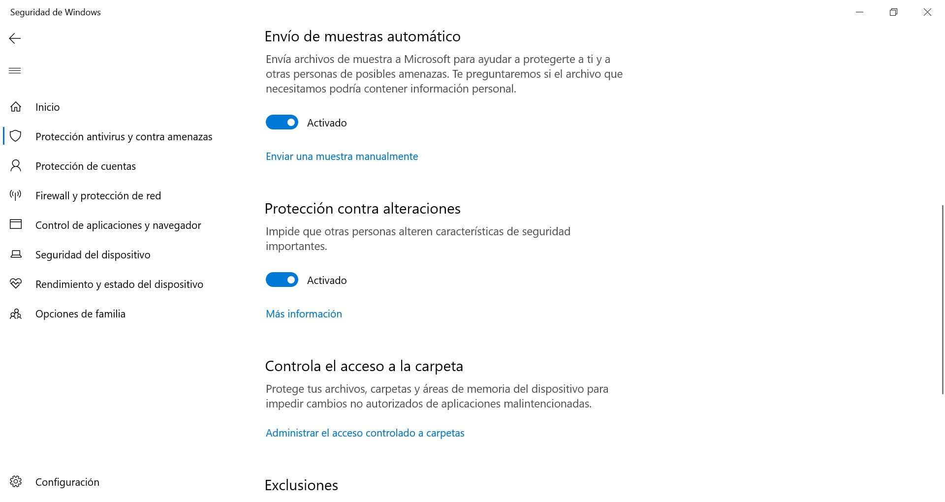 Protección frente a alteraciones en Windows Defender