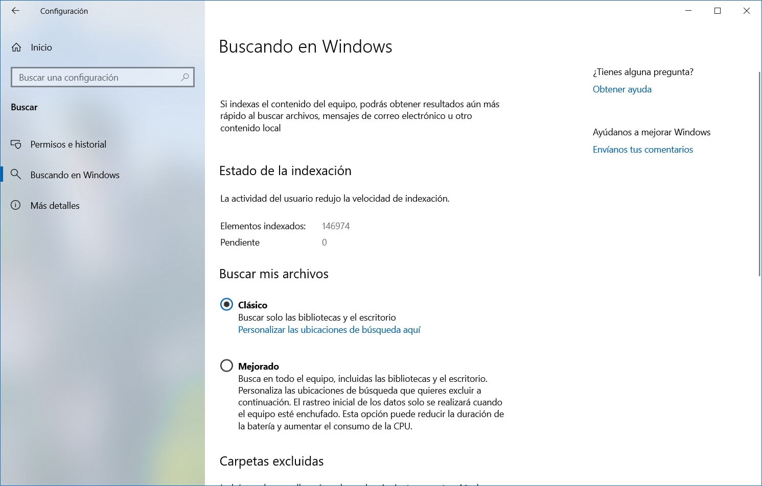 Opciones de Windows Search