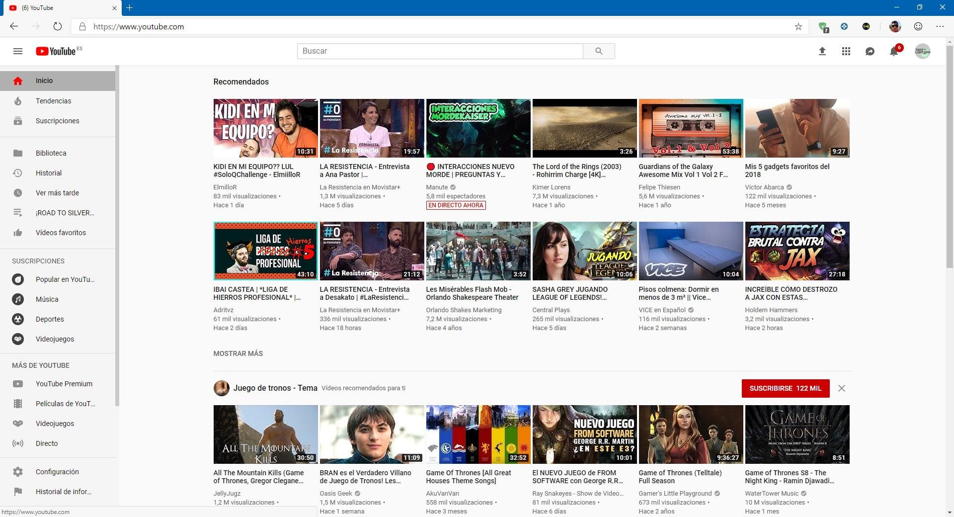 Nueva experiencia de YouTube funcionando en Edge basado en Chromium
