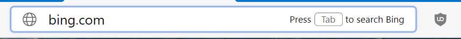 Sugerencia para pulsar Tab con la palabra clave escrita en la barra de direcciones en Microsoft Edge Dev
