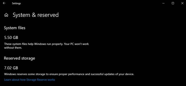 Reserva de espacio de Windows Update