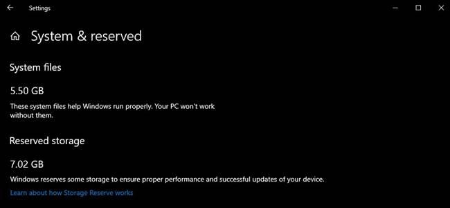 Reserva de espacio de Windows Update