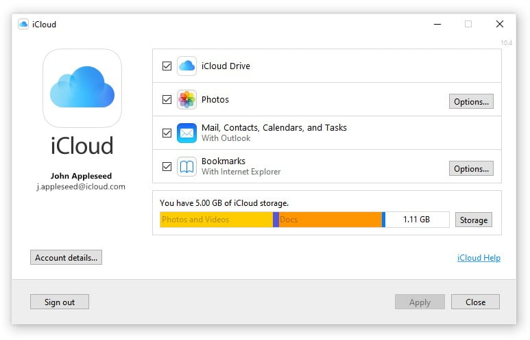 iCloud Windows 10