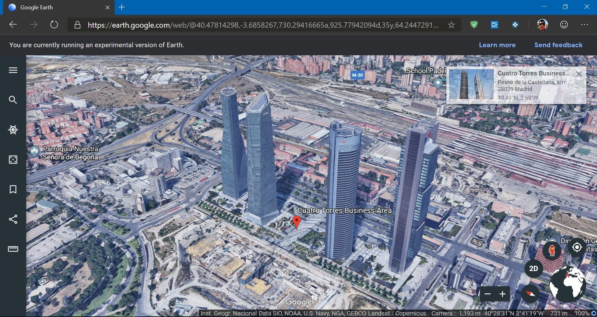 Google Earth funcionando sobre Microsoft Edge basado en Chromium