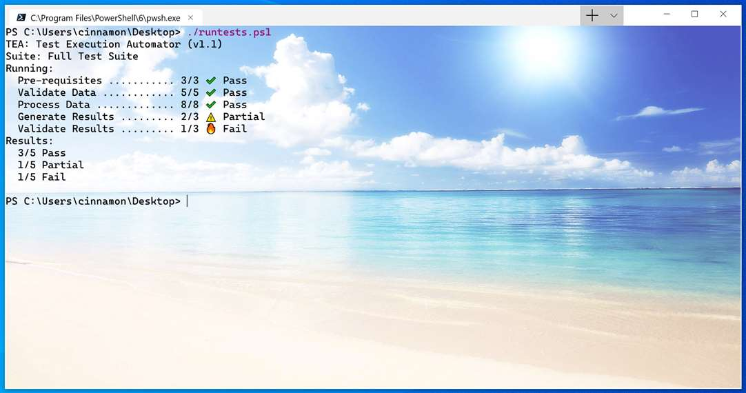 Windows Terminal con el fondo de una playa