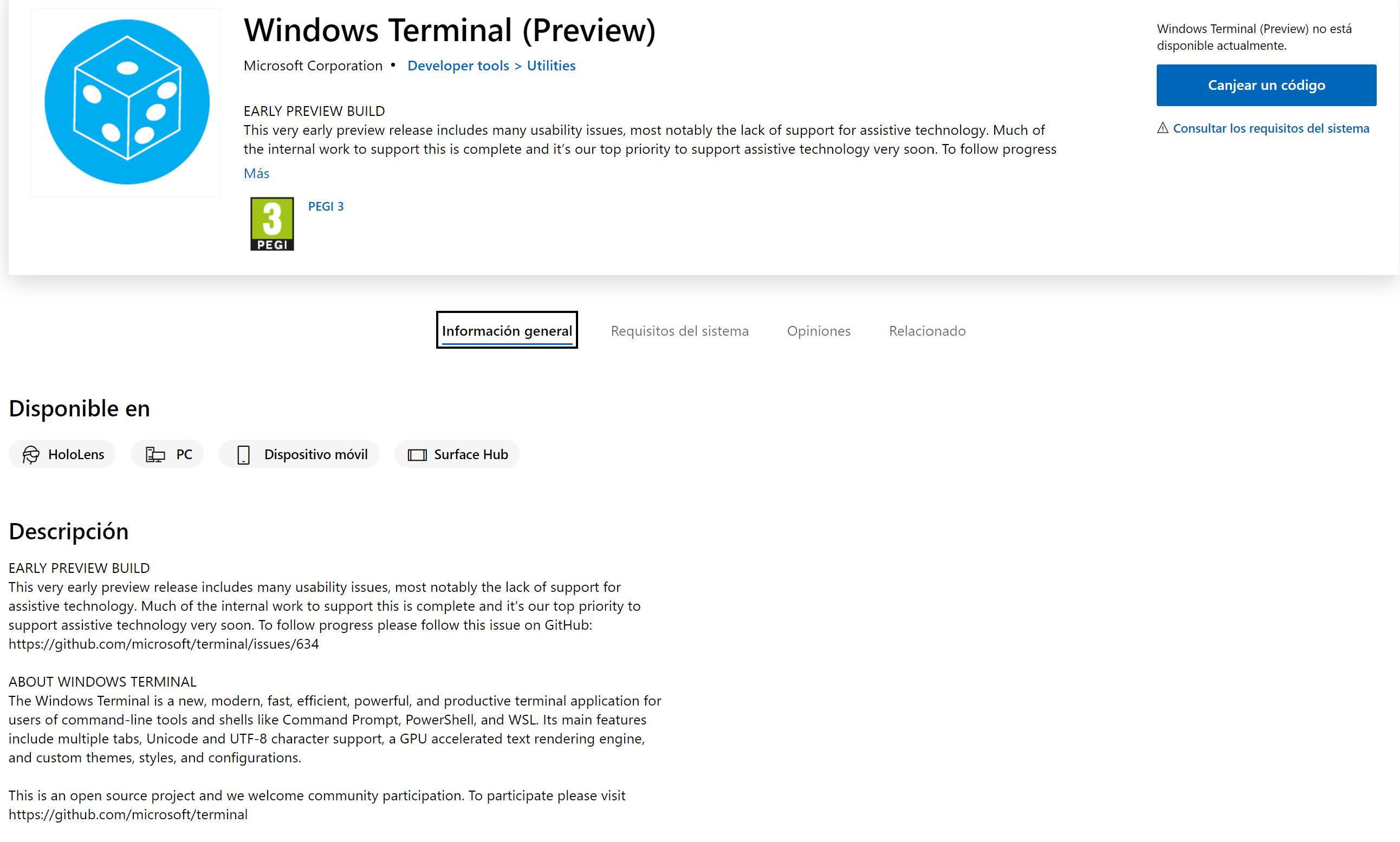 Listado en la Microsoft Store de la WIndows Terminal