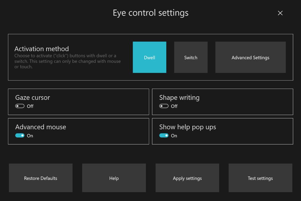 Configuración del seguimiento ocular de la Build 18932