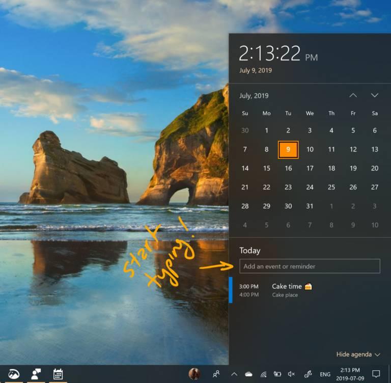 Crear evento de Outlook desde la barra de tareas en la Build 18936