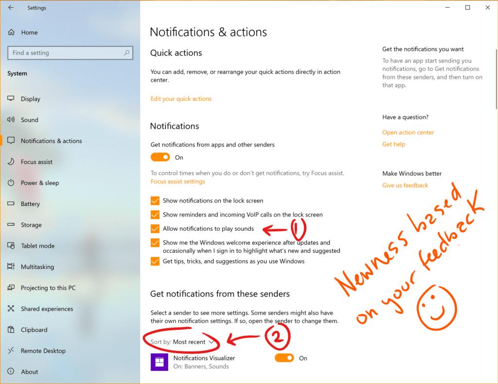 Nuevas opciones en la configuración de las notificaciones de la Build 18932 de Windows 10