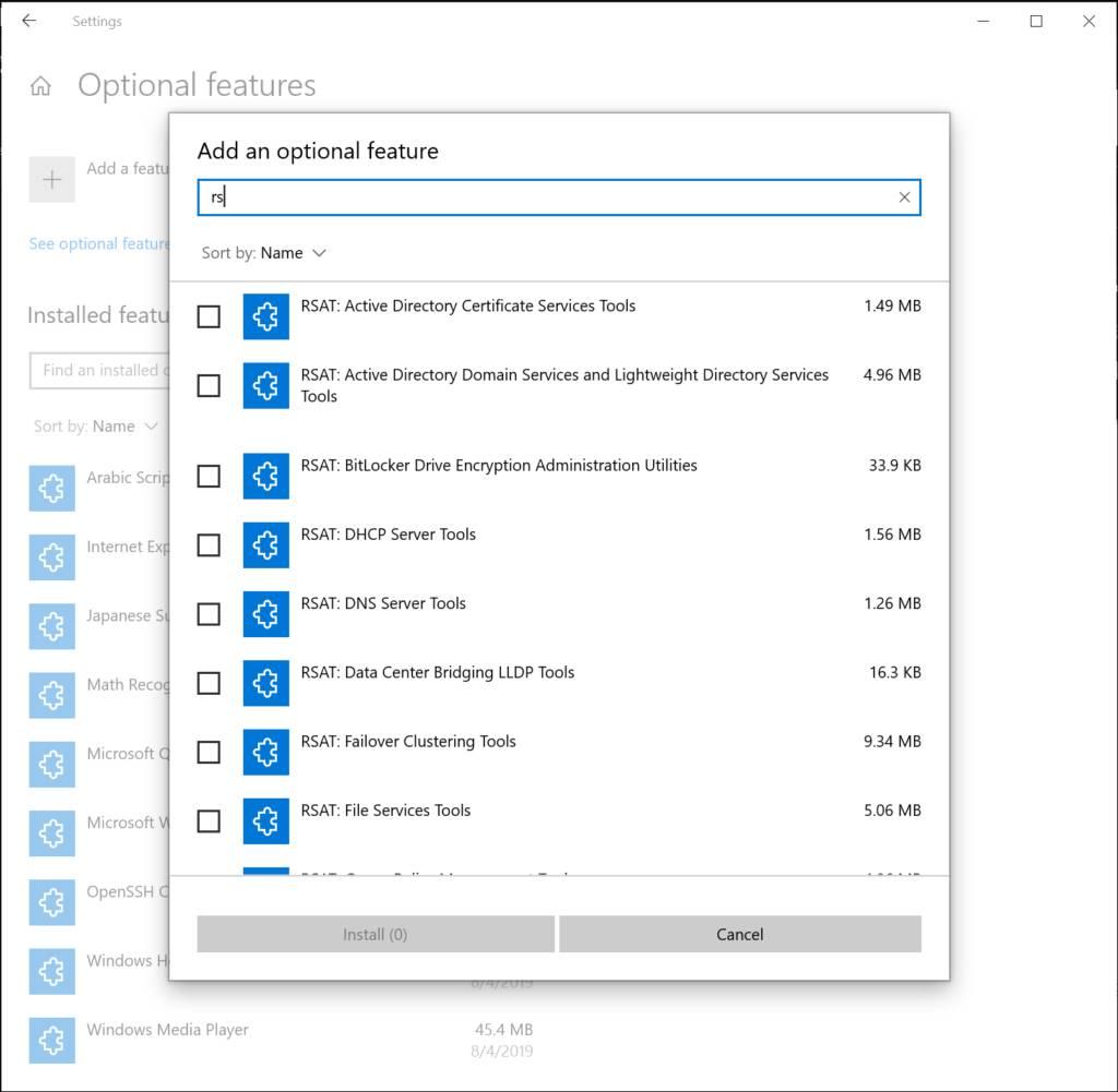 Añadir una función opcional de Windows 10 Build 18963 de varias a la vez