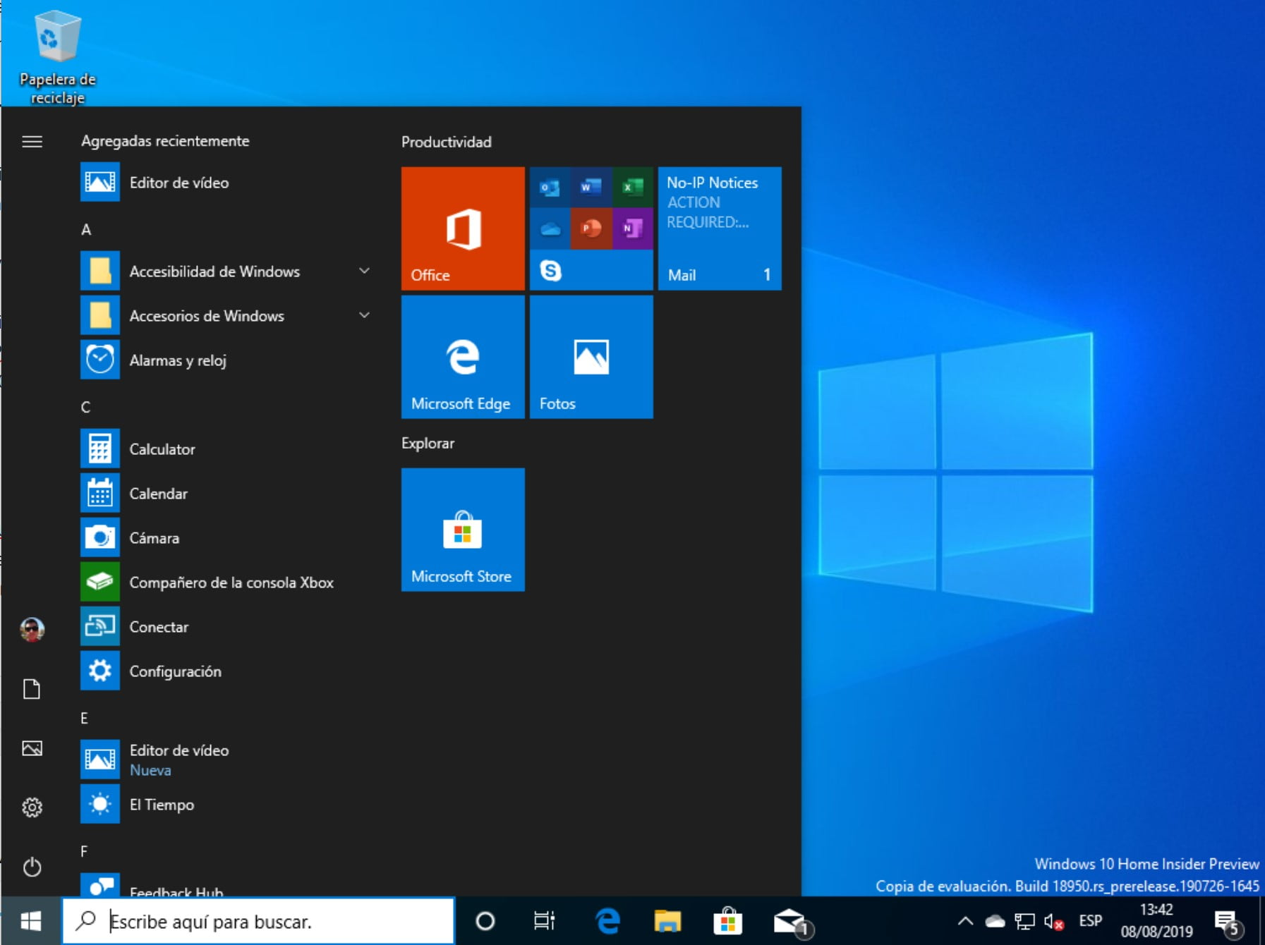 Menú inicio de Windows 10 20H1 con la Build 18950 sin Candy Crush y otro bloatware preinstalado