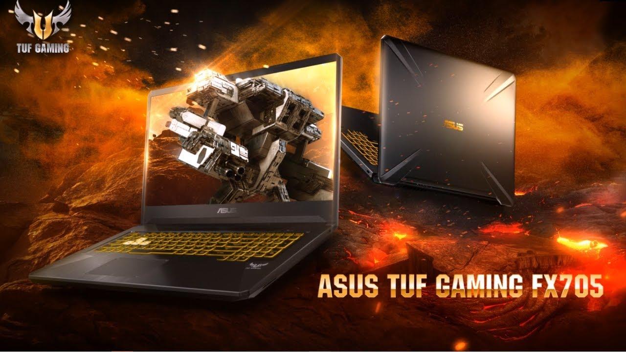 Vista de pantalla y trasera del Asus TUF Gaming FX705DY