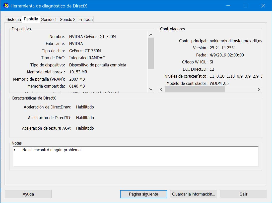 DXdiag sobre Windows 10 en la Build 18963 con WDDM 2.5