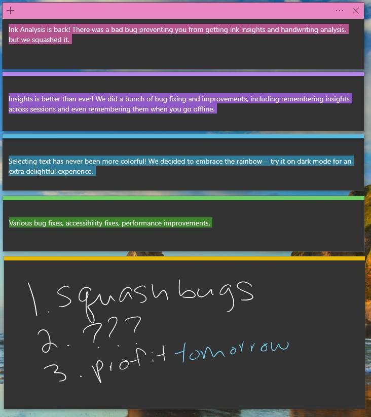 Mejoras de la versión 3.7 de Sticky Notes