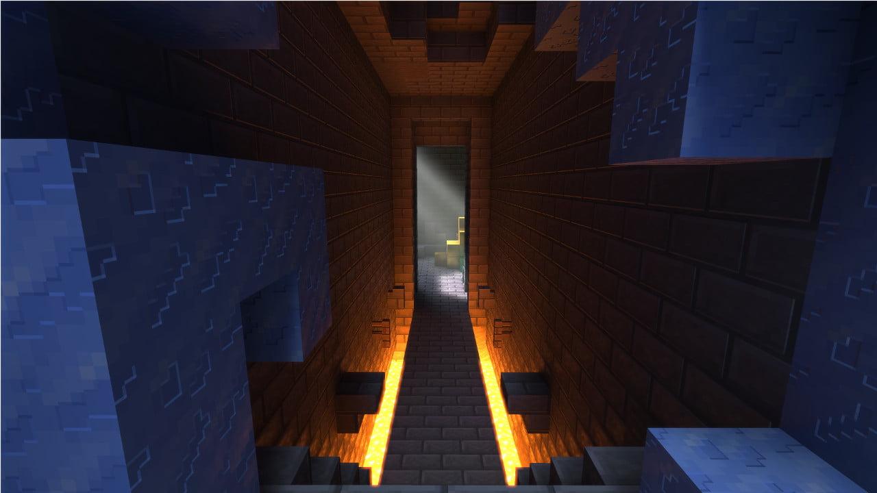 Minecraft con Ray Tracing en una zona con lava